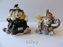 Fitz Floyd 1992 Halloween Hoedown Kitchen Witch Teapot + Sugar/Creamer Set