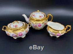 Foley Golden Pink Rose Bouquet 2726 Teapot Creamer Sugar Set Bone China England