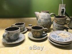 Frances Senska 14 piece Tea Set-6 saucers, 6 cups, 1 tea pot and 1 teapot lid