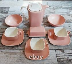 Franciscan Metropolitan Coral Mid Century set, Cup, tea pot, butter dish, bowls