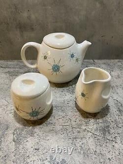 Franciscan Starburst RARE Tea set, Teapot, Sugar Bowl, Creamer EUC