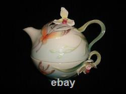 Franz Porcelain Butterfly tea pot set (tea for one) very unique sculptured