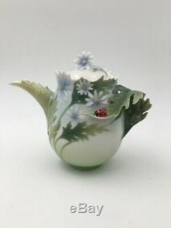 Franz Porcelain Collection Lady Bug Teapot with Original Box