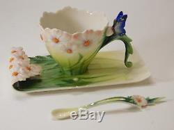 Franz Porcelain Cosmos & Butterfly Cup Saucer Spoon Set. FZ03013. New in box