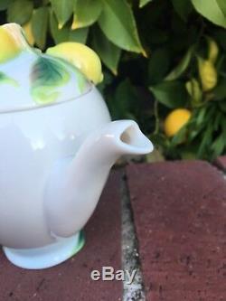 Franz porcelain collection Lemon Teapot & Lid Fruit Excellent! White