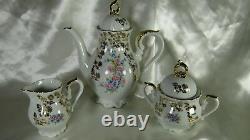 French Coffee Tea Set Porcelain Cup Saucer Teapot Gold Gilt Dinnerware Bavaria