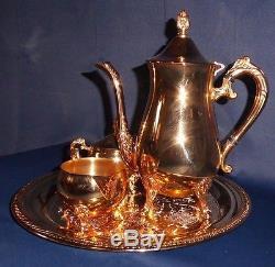 Gold Plated Hong Kong 4 Pc Tea Set Coffee, Pot, Creamer, Sugar Bowl & Platter