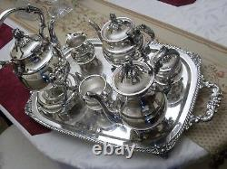 Gorgeous Vintage silver plate tea silverplate (8) piece teapot set with tray