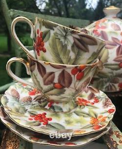 Gracie Tea set for 4 -Teapot Sugar, Teacups + Saucers Autumn Fall Thanksgiving