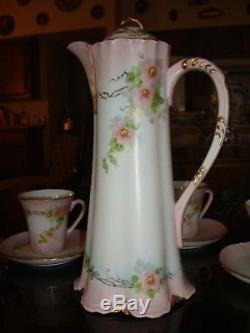 HAND PAINTED UNMARKED LIMOGES or BAVARIA CHOCOLATE COFFEE TEA SET POT & 6 CUPS