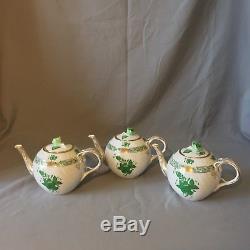 HEREND HUNGARY GREEN Handpainted Beautiful Teapot set of 3