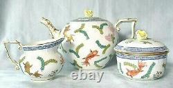 HEREND Poissons Gold Koi Fish Seaweed Teapot Creamer Sugar Bowl Tea Set UNUSED