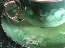 HERMAN OHME ANTIQUE FINE GERMAN PORCELAIN 18 PIECE TEA POT Cups Plates Set Green