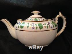 Hammersley English Bone China Palmetto Complete Tea Set, Pot/Sugar/Creamer +++