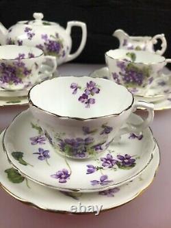 Hammersley Victorian Violets Tea Set for 5 Trios Teapot Sugar Jug Bowl Cups