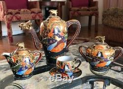 Hand Painted Moriage Satsuma Dragon Teapot Tea Creamer Set Japanese Takito