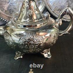 Handmade Moroccan Luxurious Tea Set, 6 Cups Tea Glasses, Teapot, Tea Tray NEW
