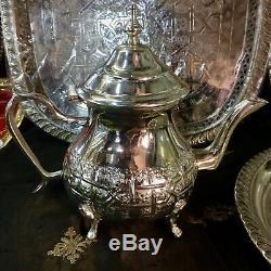 Handmade Moroccan Silver Tea Set TeaPot, Tea Tray, Set Of 3 Tea Cups