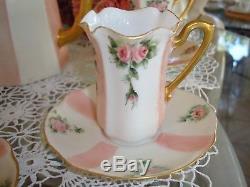 Handpainted Limoges France Chocolate /tea / Coffee Pot & 5 German Cups Set, Pink