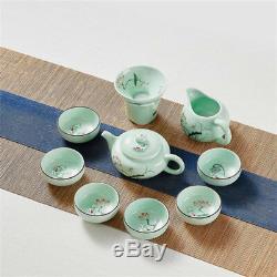 Handpainted complete tea set longquan celadon porcelain tea pot pitcher tea cup