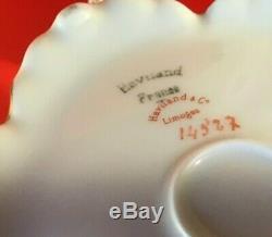 Haviland & Co Limoges France Teapot Creamer And Sugar Set Antique Teal & Gold