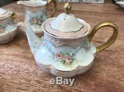 Haviland Limoges China Gold And Floral Tea Pot, Sugar And Creamer Set