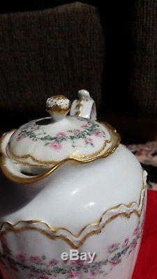 Haviland Limoges antique teapot set, cream with pink roses and gold trim