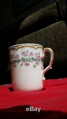 Haviland Limoges antique teapot set, cream with sweet pink roses and gold trim
