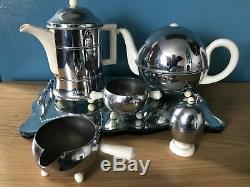 Heatmaster Set Teapot/coffee Pot/sugar Milk Pourer Egg Cup Chrome Deco