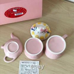 Hello Kitty Tea Time Set Sugar & Pot Tea Pack Tray & Mug Pottery 2001 Sanrio F/S
