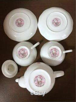 Hello Kitty Teapot Tea Cup Saucer Tea Set Golden Ceramic Rose 2004 Sanrio F/S
