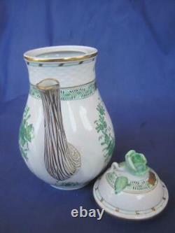 Herend Indian Basket Green 5 pcs SET Sugar Creamer Tea Pot withLids 24k Gold