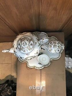 Herend Rothschild Hvngary Platter, Teapot, Cream Serving Set