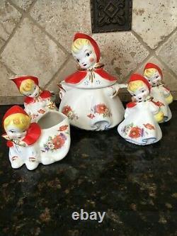 Hull USA Little Red Riding Hood 5 pc set Teapot, cream, sugar, salt, pepper