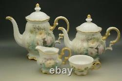 Hutschenreuther Porcelain 1965 Roses Teapot Coffee Pot Set Hand Painted Signed