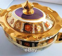 Imari' Rare Lancashire Rose H/painted Gold China Spode Style Tea Pot Set