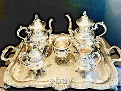 Impressive Goldfeder Silver on Copper Tea & Coffee Service, ca 1930s