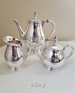 International Royal Danish Sterling Silver Coffee Tea Pot Creamer Sugar Set Mono