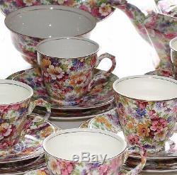 James Kent Du Barry, Chintz 6 Place Tea Set Including Teapot