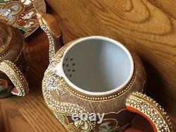 Japan Satsuma Dragonware Moriage Tea Set Pot Creamer Sugar Plates ETC Excellet