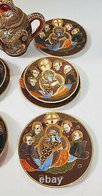 Japan Satsuma Geisha Dragonware Moriage 22 Pc Tea Set Pot Creamer Sugar Plates