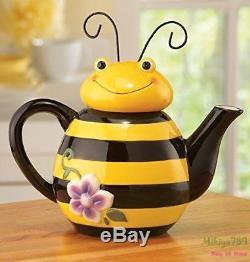 Kawaii Bee Shaped Ceramic Teapot Yellow Beehive Teapot Kitchen Decor Serving Tea