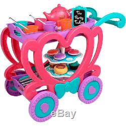 Kids Tea Cart Play Set Game Toy Pretend Play Party Plastic Teapot Serving Tray