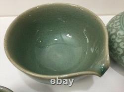 Korean Celadon Teapot, Bowl & 5 Cups Set
