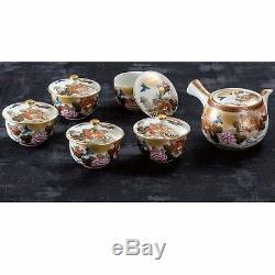 Kutani Yaki Ware Teapot and Tea Cups Set Honkin Kachou flowers & birds with lid