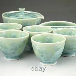 Kyusu Yunomi Yusamashi Kyo Kiyomizu yaki Japanese Sencha tea cup pot set crystal
