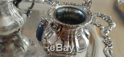 Lancaster Rose by Poole Silver Plated Coffee/Tea Pot set and a Huge Serving Tray