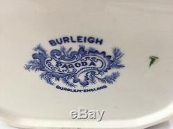 Large Burleigh Pagoda Chinoiserie Teapot Burslem England Blue & White c. 1930s