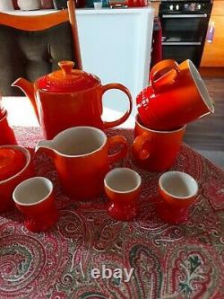 Le Creuset Breakfast Set x4 Mugs, Egg Cups, Milk Jug, Sugar Bowl & Grand Teapot