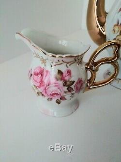 Lefton China Tea Pot, Creamer and Sugar Bowl Set 6319 6316 with 24K gold trim